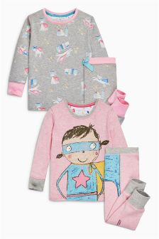 Supergirl Snuggle Pyjamas Two Pack (9mths-8yrs)