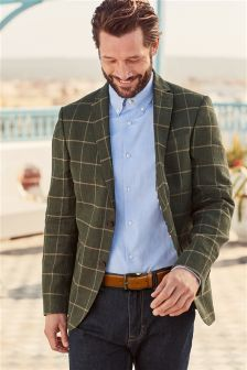Check Linen Tailored Fit Jacket