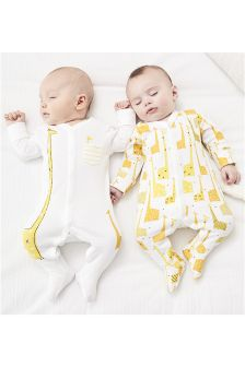 Giraffe Print Sleepsuits Two Pack With Hat (0-12mths)