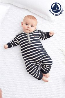 Petit Bateau White Striped Footless Babygrow