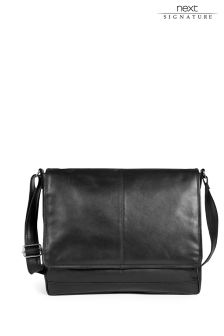 Black Signature Leather Messenger