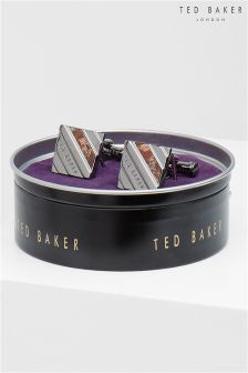 Ted Baker Silver Striped Cuff Links