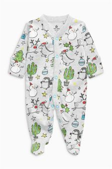 Christmas Print Sleepsuit (0mths-2yrs)