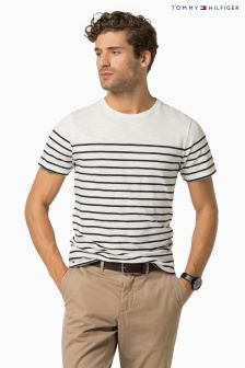Tommy Hilfiger White/Blue Stan Stripe T-Shirt