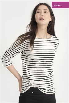 Joules Harbour Luxe Cream Black Stripe Sequin Jersey Top