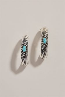 Turquoise Detail Hoop Earrings