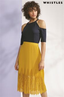 Whistles Dark Yellow Lilian Pleated Skirt