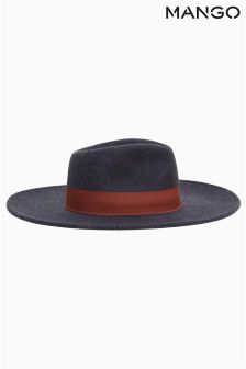 Mango Navy Wide Brimmed Hat