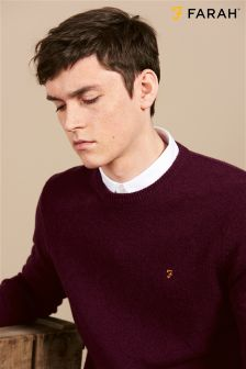 Farah Burgundy Slim Fit Lambswool Jumper