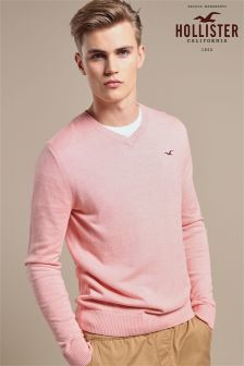 Hollister Pink Marl V-Neck Jumper