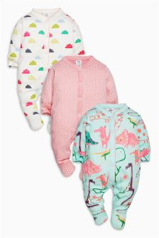 Dino Sleepsuits Three Pack (0mths-2yrs)