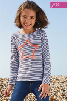 Joules White/Navy Cora Embellished Jersey Top