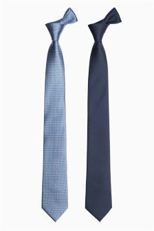 Patterned And Plain Ties Two Pack