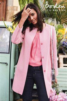 Boden Mid Pink Herringbone Sienna Coat
