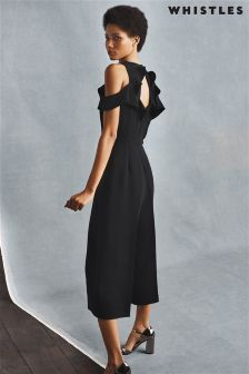 Whistles Black Mia Frill Jumpsuit