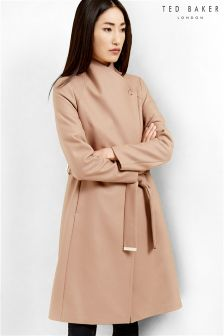 Ted Baker Taupe Long Wrap Collar Coat