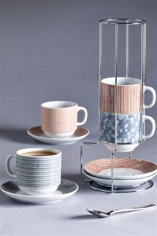 Patterned Tea Cup And Saucer Stackers