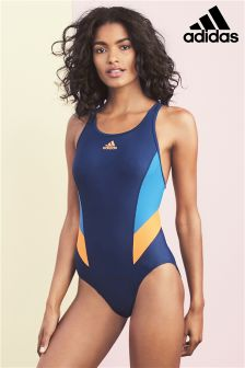 adidas Blue And Orange Logo Swimsuit