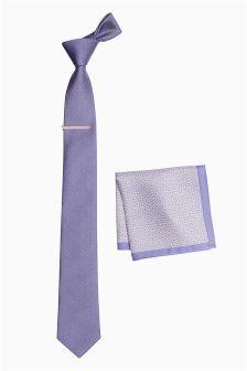 Tie, Pocket Square And Tie Clip Set