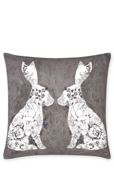 Mirrored Floral Rabbit Cushion