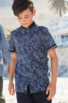 Short Sleeve Leaf Print Baseball Shirt (3-16yrs)