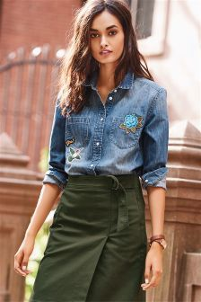 Badged Denim Shirt