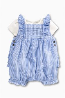 Ticking Stripe Dungaree And Bodysuit (0mths-2yrs)