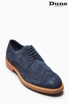Dune Navy Suede Blindside Wingcap Derby Brogue