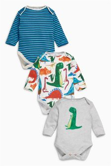 Dino Long Sleeve Bodysuits Three Pack (0mths-2yrs)