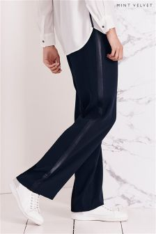 Mint Velvet Navy Luxury Crepe Wide Leg Side Stripe Trouser