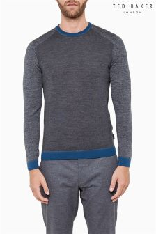 Ted Baker Grey Contrast Panel Crew Neck Jumper