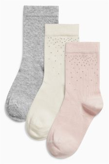 Pretty Studs Socks Three Pack (Older Girls)