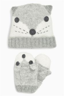 Fox Hat And Mitten Set (Younger Girls)