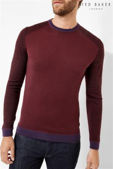 Ted Baker Burgundy Contrast Panel Crew Neck Jumper