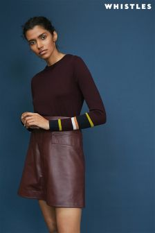 Whistles Burgundy Hayden Stripe Cuff Jumper