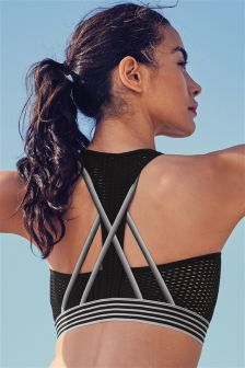 Low Impact Non Wire Fishnet Sports Crop Top