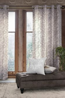 Woodcut Natural Bird Print Eyelet Curtains