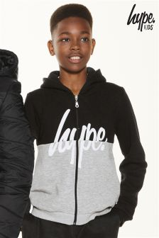 Hype Black/Grey Zip Through Hoody