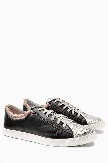 Metallic Leather Trainers