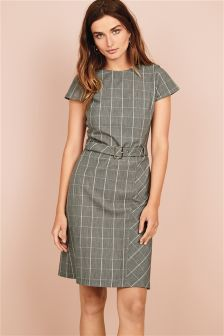 Check Belted Dress