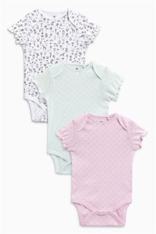 Floral Print Short Sleeve Bodysuit Three Pack (0mths-2yrs)