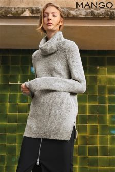 Mango Grey Longline Roll Neck Knit