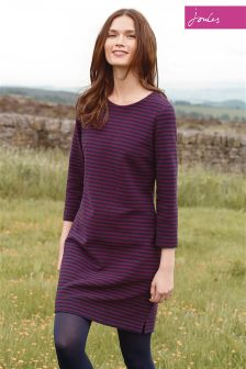 Joules Navy/Burgundy Marie Stripe Jersey Texture Dress