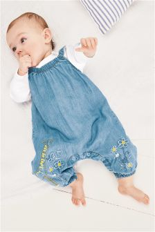 Embroidered Dungarees And Bodysuit Set (0mths-2yrs)