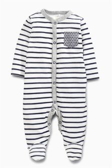 Stripe Velour Sleepsuit (0mths-2yrs)