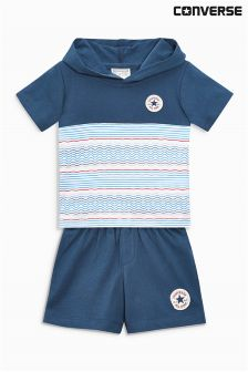 Converse Baby Navy Stripe Shorts And Tee Two Piece Set