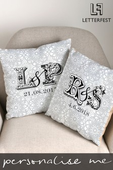Personalised Couples Initials Cushion By Letterfest