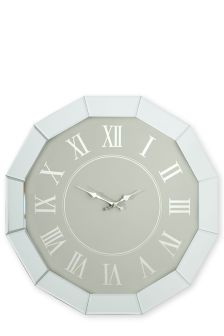 Large Bevelled Mirror Wall Clock