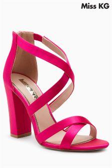Miss KG Pink Satin Faun Block Heel Sandal