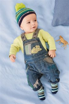 Animal Appliqué Dungarees And Bodysuit (0mths-2yrs)